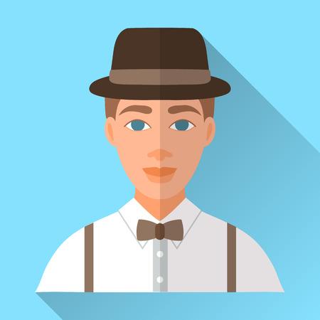 brown shirt: Blue trendy flat square wedding day fiance icon with shadow. Illustration of handsome future husband wearing stylish brown hat, white shirt, braces and brown bow tie. Hipster wedding male character.