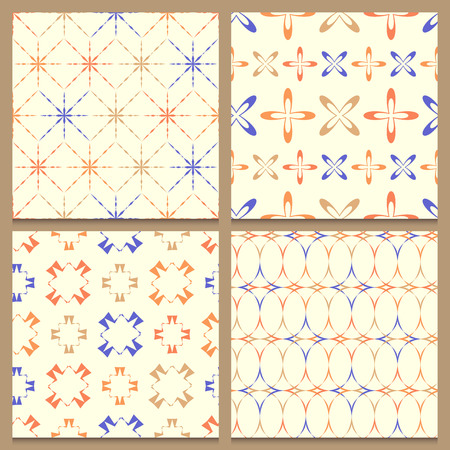 beautifully: Set of four beautifully composed vintage patterns with bright repeated abstract geometric elements isolated on brown background. Great for retro designs. Violet, beige and orange shapes on creamy white background. Illustration