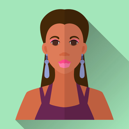 long straight hair: Green flat style square shaped female character icon with shadow. Illustration of an attractive african american woman with long straight  hair wearing dark violet night party dress and earrings.
