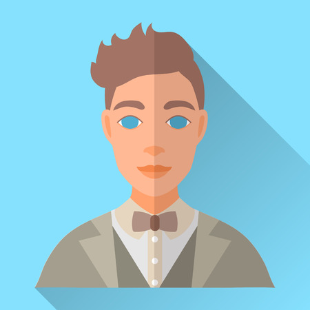 light brown hair: Blue trendy flat square wedding day fiance icon with shadow. Illustration of handsome future husband with stylish brown hair wearing light grey hipster suit, waistcoat, white shirt and brown bow tie.