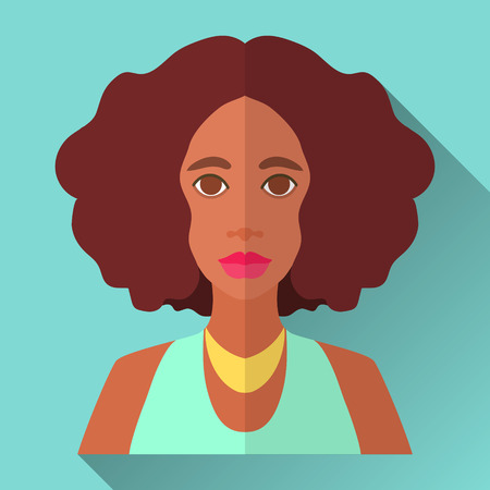 medium length: Blue flat style square shaped female character icon with shadow. Illustration of an attractive young african american woman with medium length curly afro hairstyle wearing mint green party dress and golden necklace. Illustration