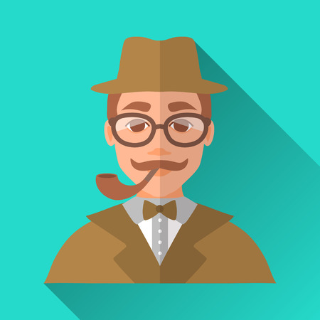 smoking pipe: Turquoise blue flat style square shaped male character icon with shadow. Illustration of a detective or a hipster man with moustache wearing brown suit, bow tie, a hat and glasses smoking a pipe. Illustration