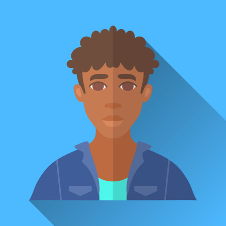 denim jacket: Blue flat style square shaped male character icon with shadow. Illustration of a young african american man with curly brown hair wearing a blue denim jacket and a shirt .