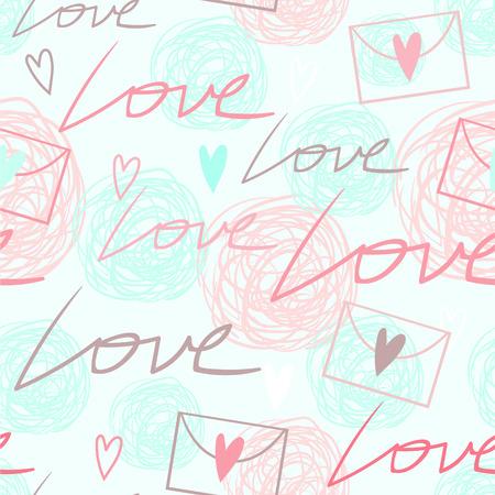 sobres de carta: Niza romántica tierna rosa, modelo inconsútil azul y blanco con palabras de amor, corazones, garabatos y sobres carta de amor