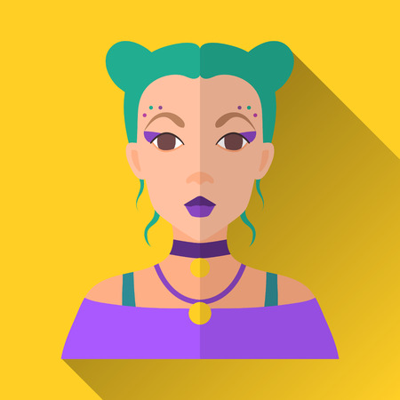 green hair: Yellow flat style square shaped female character icon with shadow. Illustration of young fashionable teenage girl with green dyed bobtail hair wearing a purple shirt and two necklaces.