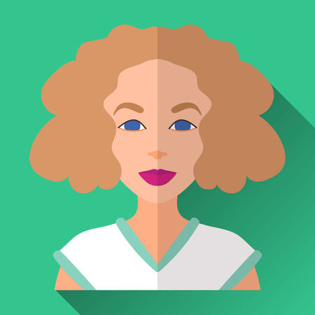 lenght: Green flat style square shaped female character icon with shadow.  Illustration of sporty looking smiling young woman with medium lenght curly hair wearing white and green sports shirt.