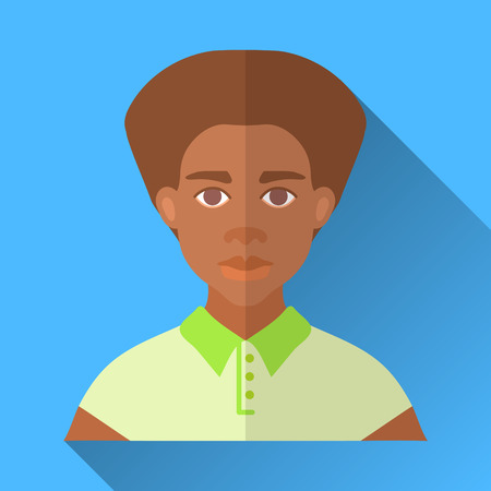hombre: Blue flat style square shaped male character icon with shadow. Illustration of a young fashionable african american man with stylish haircut wearing a bright green polo shirt.