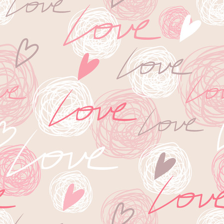Nice romantic tender pink seamless pattern with love words, hearts and scribbles Illustration
