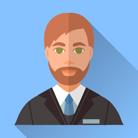 茶髪: 青いトレンディな平らな正方形の結婚式日婚約者アイコンの影。短い茶色の髪、スタイリッシュなひげと口ひげの黒のスーツ、白いシャツ、青いネクタイを身に着けているハンサムな未来の夫のイラスト。