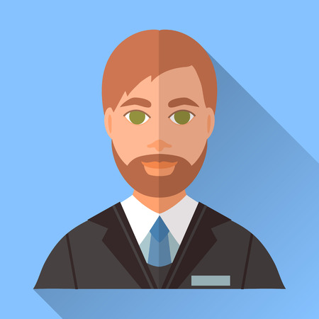 fiance: Blue trendy flat square wedding day fiance icon with shadow. Illustration of handsome future husband with short brown hair, stylish beard and moustache wearing black suit, white shirt and blue tie.