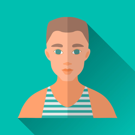 hombre: Turquoise blue flat style square shaped male character icon with shadow. Illustration of a young man with stylish haircut wearing a blue and white striped sleeveless sports shirt.