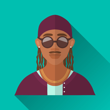 hombre: Turquoise blue flat style square shaped male character icon with shadow. Illustration of an african american rapper man with moustache and braided hair wearing gold chain and round sunglasses, . Illustration