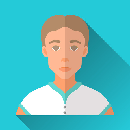 brown shirt: Blue flat style square shaped male character icon with shadow. Illustration of a skinny young man with brown hair wearing a white sporty shirt. Illustration