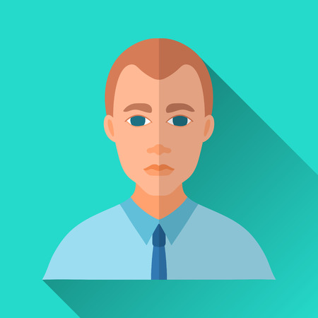 hombre: Turquoise blue flat style square shaped male character icon with shadow. Illustration of a businessman wearing official work clothing: blue shirt and a tie.