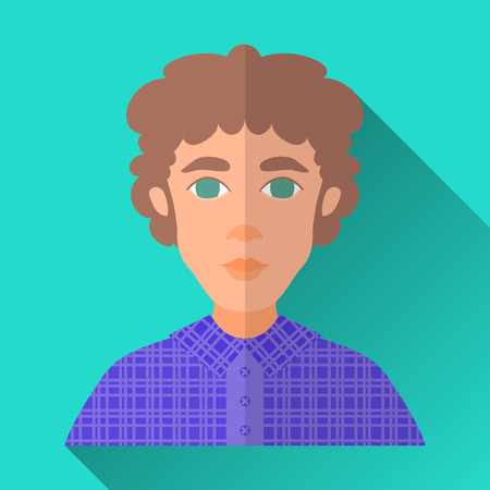 brown shirt: Turquoise blue flat style square shaped male character icon with shadow. Illustration of a young man with brown curly hair wearing a violet check shirt.