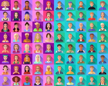 cabeza de mujer: Muy gran conjunto de diferentes cuadrado estilo plano inconformista moda iconos de personajes femeninos y masculinos en forma de sombras. Representa diferentes subculturas, edad, raza, nacionalidad y estilos de vida.
