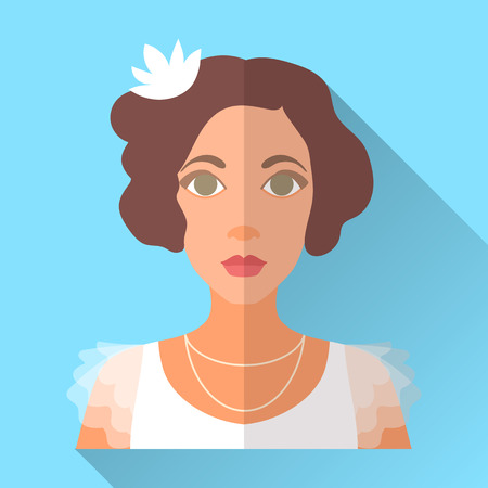 fiancee: Blue trendy flat square wedding day fiancee icon with shadow. Illustration of an attractive bride with short curly brown hair wearing retro white dress with transparent sleeves and floral hairpin.