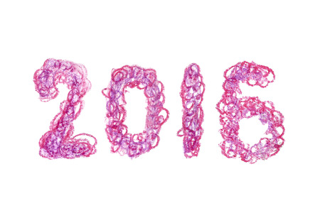 written date: 2016 new year date hand written lettering with fluffy scrawl effect created with violet and pink pastel crayons.