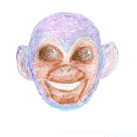 blue smiling: Hand drawn head of blue smiling monkey with big cosmic eyes created with pastel crayons. The symbol of New Year 2016. Stock Photo