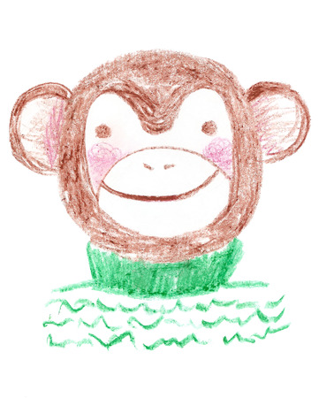 blushing: Cute brown hand drawn smiling and blushing monkey wearing cosy green knitted sweater created with pastel crayons. The symbol of New Year 2016. Kid cartoon style monkey. Childish sketch of a monkey.