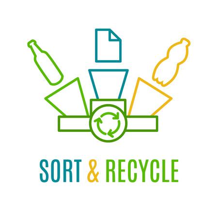 papelera de reciclaje: Ordenar y reciclar, logotipo l�nea de color. Idea de reciclaje de papel, pl�stico y residuos de vidrio. logotipo de la protecci�n de la ecolog�a. Logo de reciclaje con contenedores de basura de color amarillo, verde y azul. cartel de protecci�n del medio ambiente Vectores