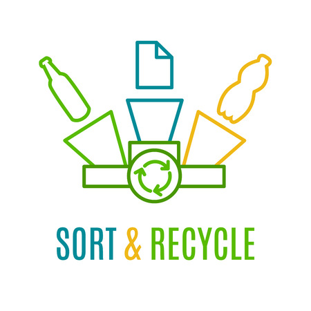 Sorteren en recyclen, gekleurde lijn logotype. Idee van recycling van papier, plastic en glas afval. Ecology bescherming logo. Recycling logo met gele, groene en blauwe vuilnisbakken. Bescherming van het milieu poster