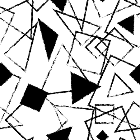 overlaying: Artistic black and white monochrome seamless pattern with simple geometric shapes. Overlaying triangle and square geometric figures with black filling and grunge stroke composition on white background Illustration