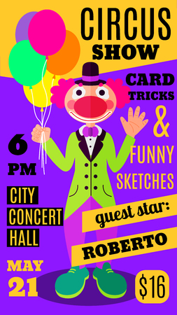 conjure: Flat style violet and yellow show flyer, invitation or brochure template with smiling and waving clown holding balloons. Colorful magic circus show promo brochure background with clown and sample text