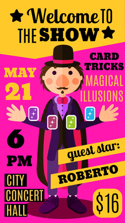illusionist: Flat style pink and yellow show flyer, invitation or brochure with magician in hat and costume doing card trick. Colorful magic circus show promo brochure template with illusionist man and sample text