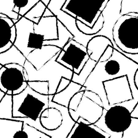 overlaying: Artistic black and white monochrome seamless pattern with simple geometric shapes. Overlaying circle and square geometric figures with black filling and grunge stroke composition on white background