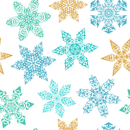 backround: White seamless pattern with colorful blue and golden snowflakes. Geometric snowflakes isolated on white backround. Pale winter ornamental snowflake decorations seamless background. Snowfall pattern. Illustration