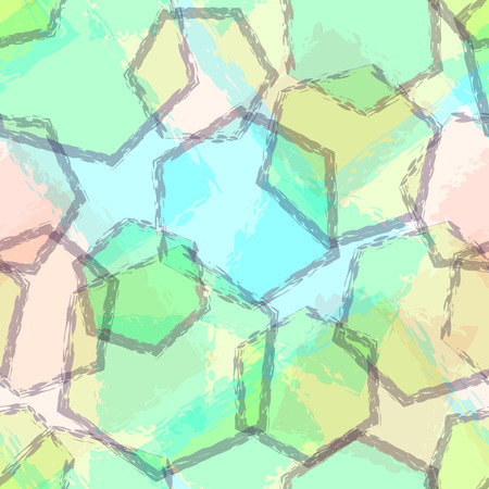 overlaying: Abstract pastel blue, green and yellow seamless pattern with transparent overlaying hexagon geometric shapes. Pale blue, green and yellow seamless background with hexagons. Neutral geometric pattern.