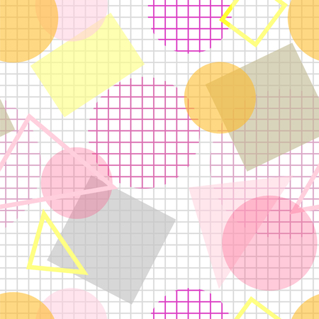 bleached: Abstract seamless pattern with geometric figures on white chequered background. Geometric composition with transparent overlaying pink, yellow, gray round, square and triangle shapes on checked paper