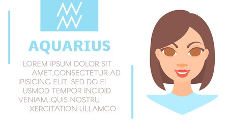 Flat style illustration of girl with aquarius zodiac sign and text of astrological prediction. Womens magazine horoscope background. Esoteric banner with astrological prognosis on white background. Illustration