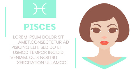 prognosis: Flat style illustration of girl with pisces zodiac sign and sample text of astrological prediction.Womens magazine horoscope background.Esoteric banner with astrological prognosis on white background