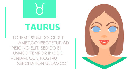 prognosis: Flat style illustration of girl with taurus zodiac sign and sample text of astrological prediction.Womens magazine horoscope background.Esoteric banner with astrological prognosis on white background