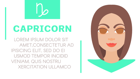 prognosis: Flat style illustration of girl with capricorn zodiac sign and text of astrological prediction. Womens magazine horoscope background. Esoteric banner with astrological prognosis on white background.
