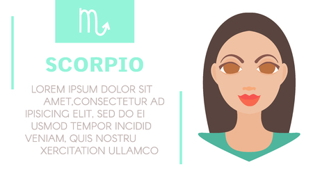prognosis: Flat style illustration of girl with scorpio zodiac sign and astrological prediction. Womens magazine horoscope background.Esoteric banner with astrological prognosis for scorpion on white background