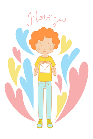 diffident: Young shy blushing teenage boy with red curly hair in love holding letter with declaration of love. Valentines day card background with smiling adolescent guy character holding love letter.