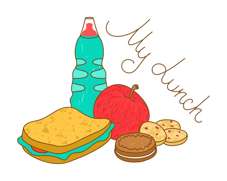 takeout: My lunch, illustration of tasty fresh food. Composition of fastfood meal.Bottle with drink, sandwich with salad, apple, chocolate sandwich cookie and butter pastry.School lunch. Work lunch.Job lunch.