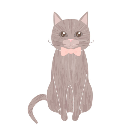 grey cat: Cartoon childish style illustration of a cute sitting gray cat with textured fur wearing bow tie. Nice tender pastel colors. Lovely sitting furry grey cat with long whiskers. Domestic cat. Pet cat. Illustration
