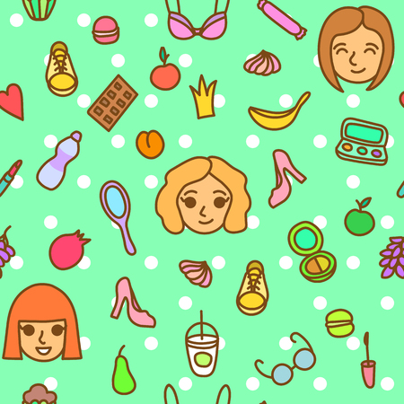 casual fashion: Cute casual fashion seamless pattern with girl faces and everyday girl stuff. Young woman lifestyle seamless pattern. Green dotted seamless background with girl heads, clothes, food and cosmetic.