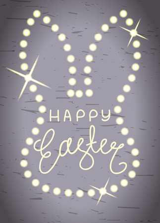 festal: Happy Easter, silver hand-written line lettering background with shining bunny head shape. Easter textured silver background for greeting card with hand-drawn text and  white glowing rabbit head shape