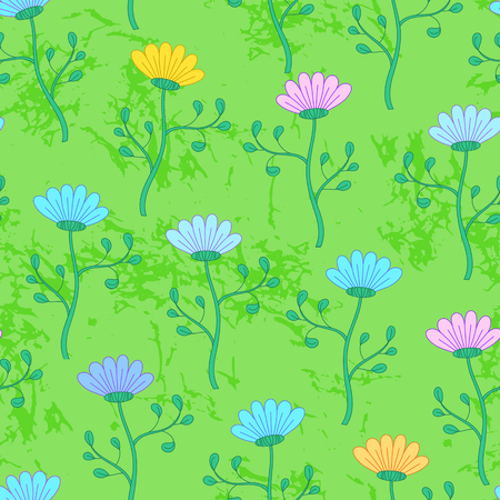 Cheerful summer seamless pattern with colorful flowers growing on green textured grass. Field with flowers, bright seamless background. Floral meadow, wild nature seamless pattern. Gardening pattern.