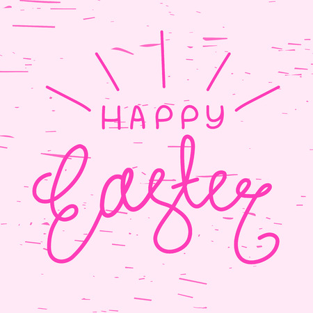 festal: Happy Easter, trendy hipster hand-written line lettering. Easter greeting card with hand-drawn lettering. Pink Easter celebration background with happy Easter wishes text. Easter wishes of happiness. Illustration