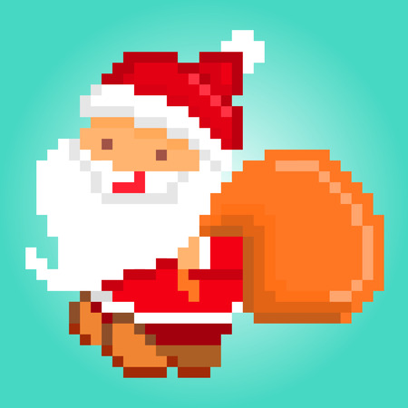 kris: pixel art illustration of happy smiling Santa Claus with a bag of presents delivering gifts. Character for Christmas design.