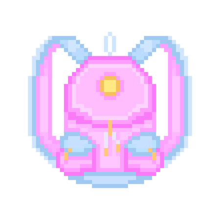 haversack: pixel art icon pink girl rucksack with light blue straps and pocket flaps design and golden furniture. Trendy hipster casual woman city backpack. School or college girl student bag.