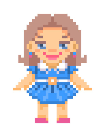 white collar: pixel art illustration, standing smiling doll with long brown hair wearing blue dress with white collar