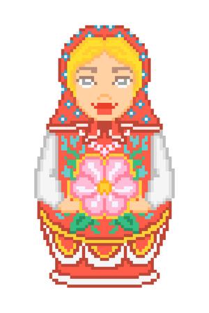matreshka: Matreshka wearing red headscarf and sarafan Illustration