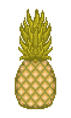 fruitage: Pixel art pineapple icon isolated on white background